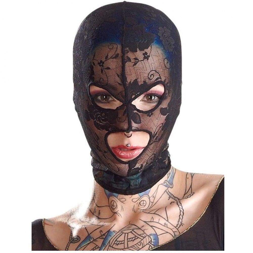 Кружевная маска на голову в отверстиями для глаз и рта Bad Kitty «Mask Lace» (3352)