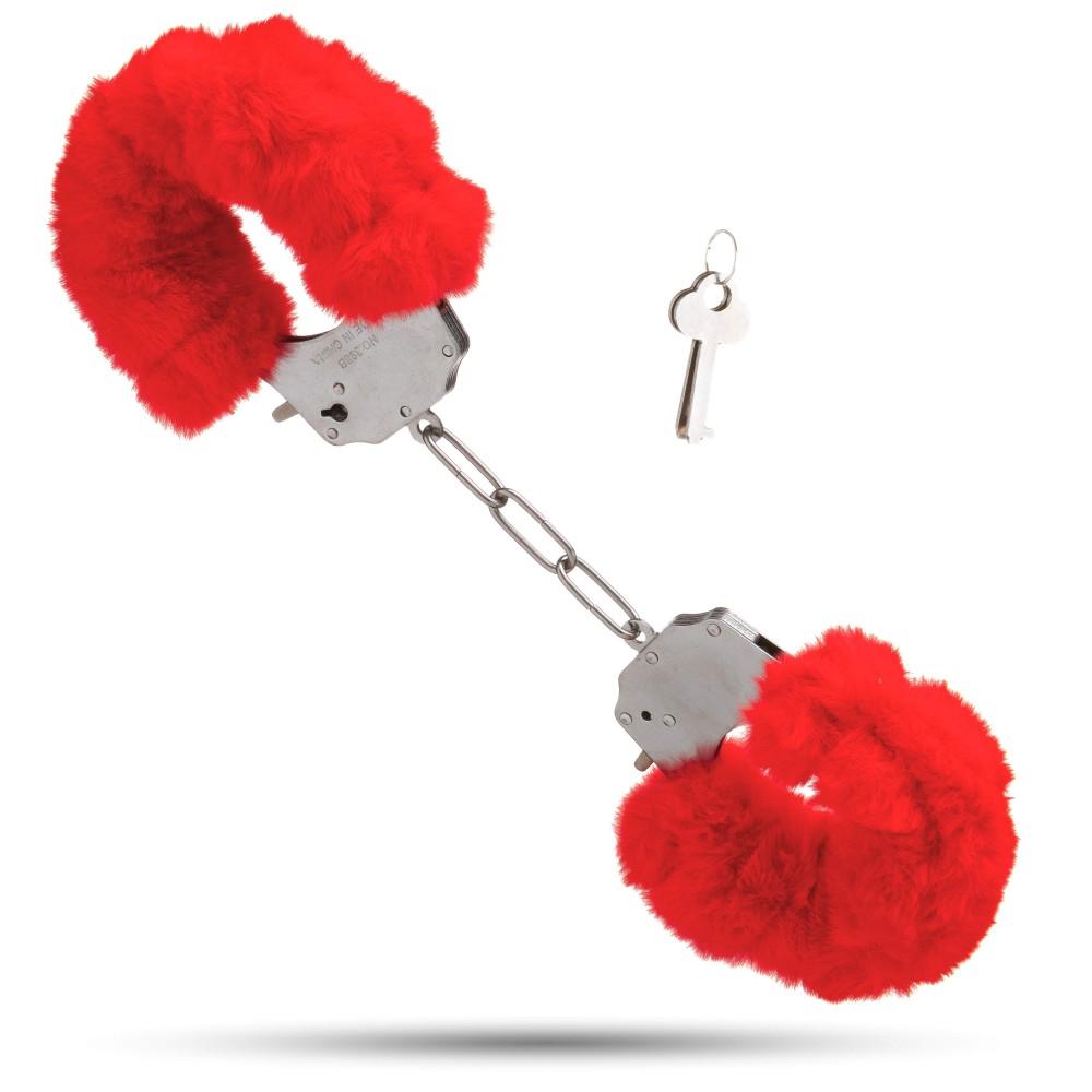 Металлические наручники с мягким мехом S&M CuffS красные NO TABOO (32878), фото 1 — секс шоп Украина, NO TABOO