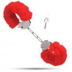 Металлические наручники с мягким мехом S&M CuffS красные NO TABOO