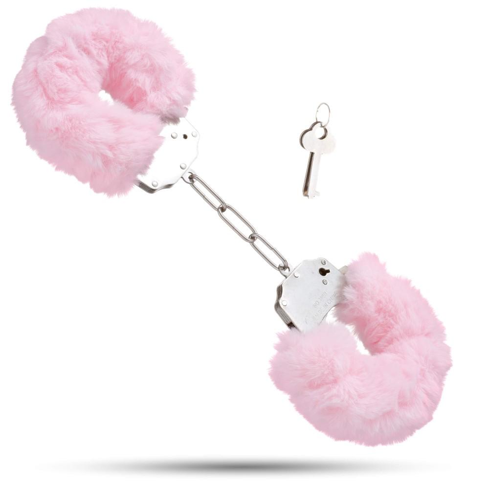 Металеві наручники з м'яким хутром S&M CuffS, світло рожевий NO TABOO (32880)