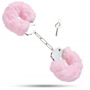 Металеві наручники з м'яким хутром S&M CuffS, світло рожевий NO TABOO (32880), zoom