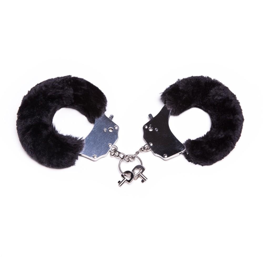 Металлические наручники с мехом, черные, крепкие, фото 1
