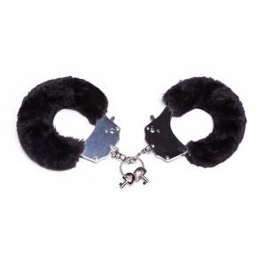 Металлические наручники с мехом, черные, крепкие (20340), zoom
