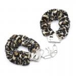 Наручники металл с леопардовым мехом (для прикола)