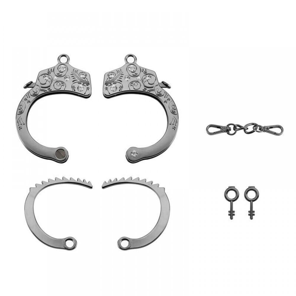 Наручники разборные металл с камнями Roomfun Diamond (30112), фото 3 — секс шоп Украина, NO TABOO