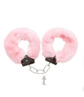 Наручники розовые металл с мехом (для прикола) - No Taboo