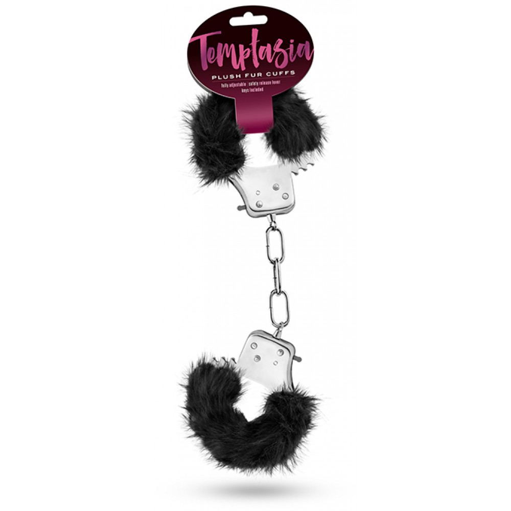 "Наручники ""TEMPTASIA"" PLUSH FUR CUFFS BLACK черный мех - No Taboo"