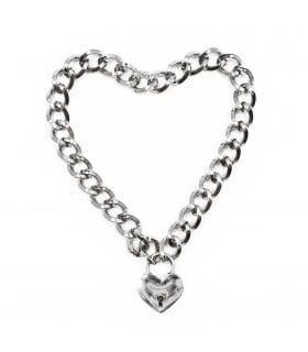 Ошейник из металлической цепи с замком в виде сердечка, серебристый NO TABOO - No Taboo