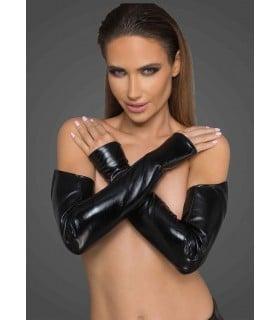 Эротические перчатки Noir Handmade из винила, черные, S/M - No Taboo