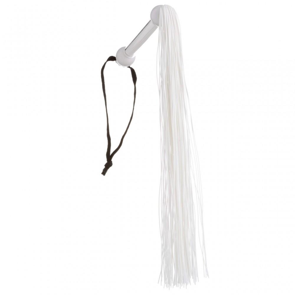 Флоггер (батіг) білий з прозорою ручкою NO TABOO, 100% медичний силікон (32826)