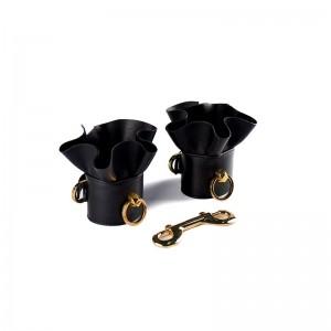 Стильные кожаные наручники с рюшами UPKO (32974), zoom