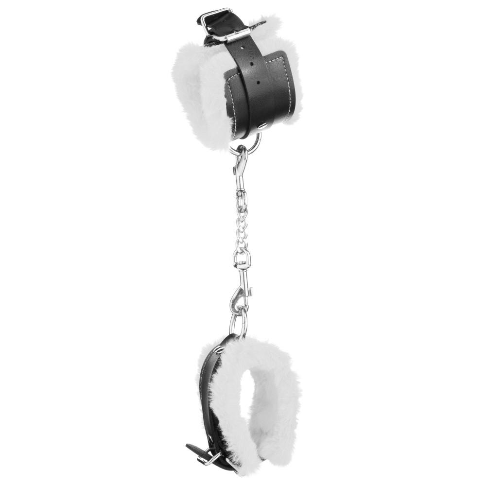Стильные наручники из искусственной кожи с белым мехом (32829), фото 7