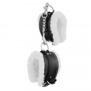 Стильные наручники из искусственной кожи с белым мехом (32829), zoom