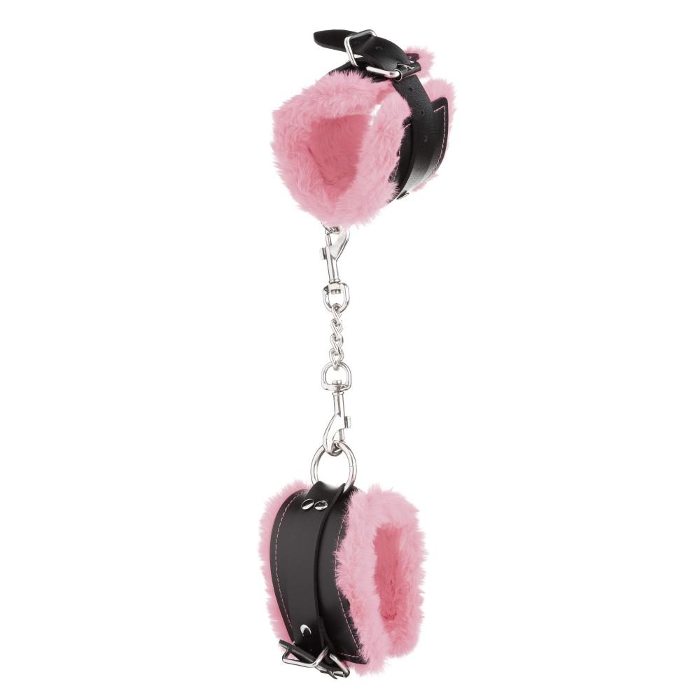 Стильные наручники из искусственной кожи с светло-розовым мехом (32831), фото 5