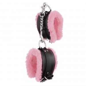 Стильные наручники из искусственной кожи с светло-розовым мехом (32831), zoom