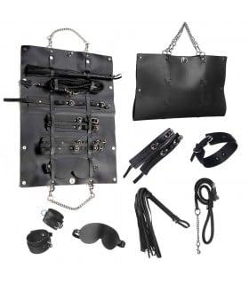 Стильный бондажный набор в сумочке, черный, замкожа - No Taboo