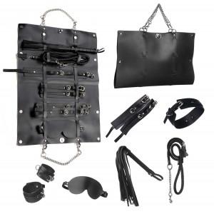 Стильный бондажный набор в сумочке, черный, замкожа (32300), zoom