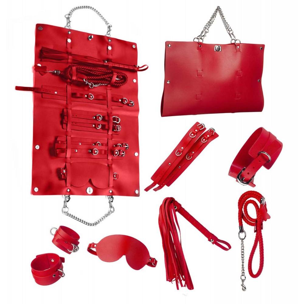 Стильный бондажный набор в сумочке красный, кожзам (32301), фото 1
