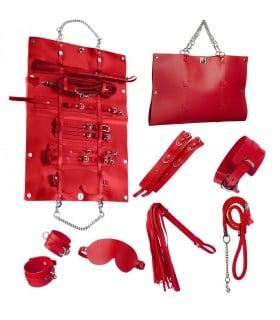 Стильный бондажный набор в сумочке красный, кожзам - No Taboo