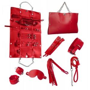 Стильный бондажный набор в сумочке красный, кожзам (32301), zoom