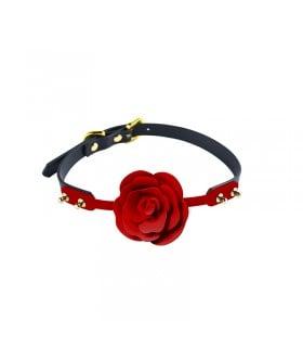Кляп роза из силикона и итальянской кожи Rose Ball Gag UPKO - No Taboo