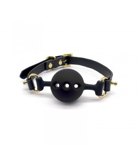 Кляп из силикона и итальянской кожи Breathable Small Ball Gag UPKO - No Taboo