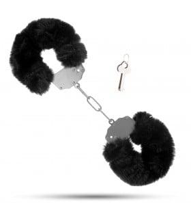 Металлические наручники с мягким мехом S&M CuffS, черные NO TABOO - No Taboo
