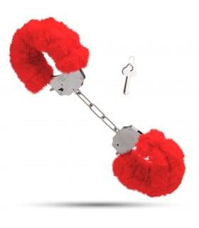 Металеві наручники з м'яким хутром S&M cuffs червоні NO TABOO - No Taboo