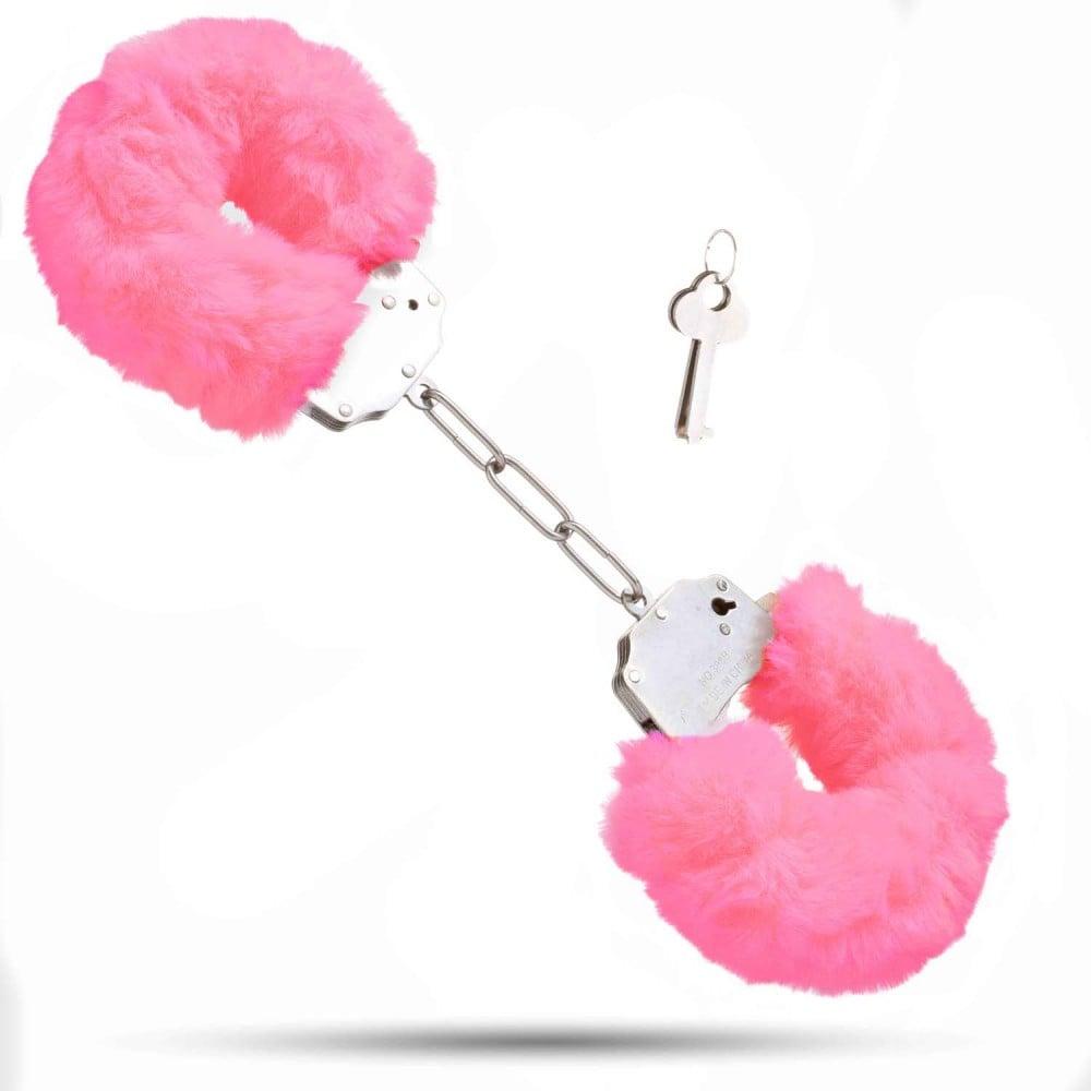 Металлические наручники с мягким мехом S&M CuffS, ярко-розовые NO TABOO (32879), фото 1