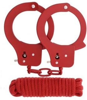 Набор наручники и бандаж BONDX Metal Cuffs красный - No Taboo