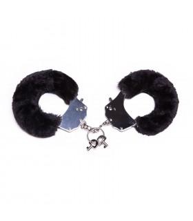 Металлические наручники с мехом, черные, крепкие - No Taboo