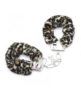 Наручники металл с леопардовым мехом (для прикола) - No Taboo