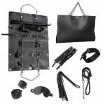 Стильный бондажный набор в сумочке, черный, замкожа
