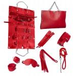 Стильный бондажный набор в сумочке красный, кожзам
