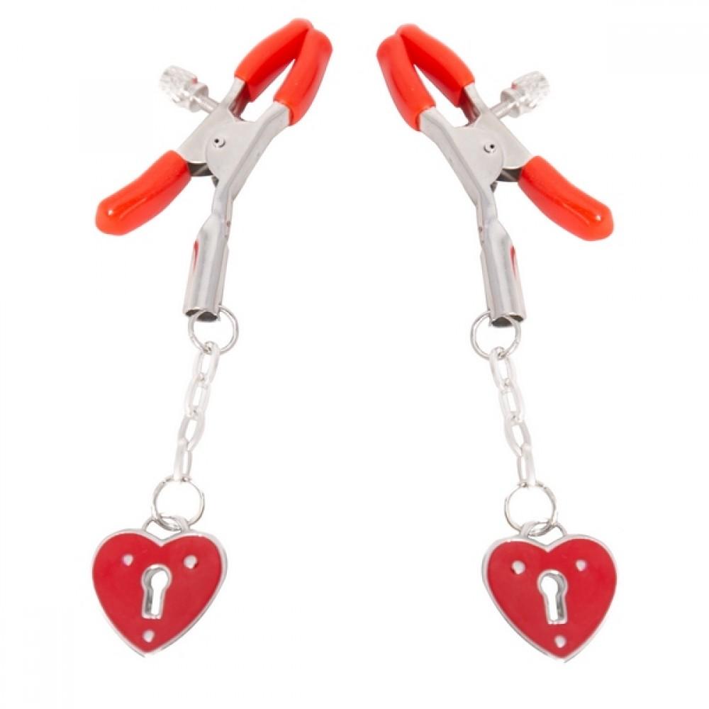 Зажимы для сосков с сердечками красные NO TABOO (30160), фото 1 — секс шоп Украина, NO TABOO