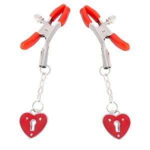 Зажимы для сосков с сердечками красные NO TABOO (30160), zoom