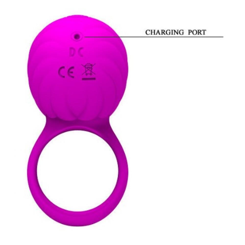 Эрекционное кольцо розового цвета с вибрацией и ротацией (33765), фото 3 — секс шоп Украина, NO TABOO