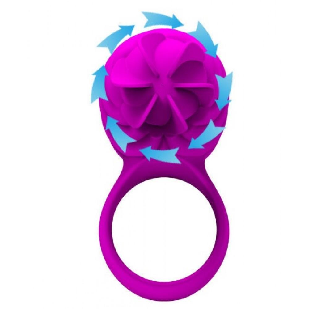 Эрекционное кольцо розового цвета с вибрацией и ротацией (33765), фото 4 — секс шоп Украина, NO TABOO