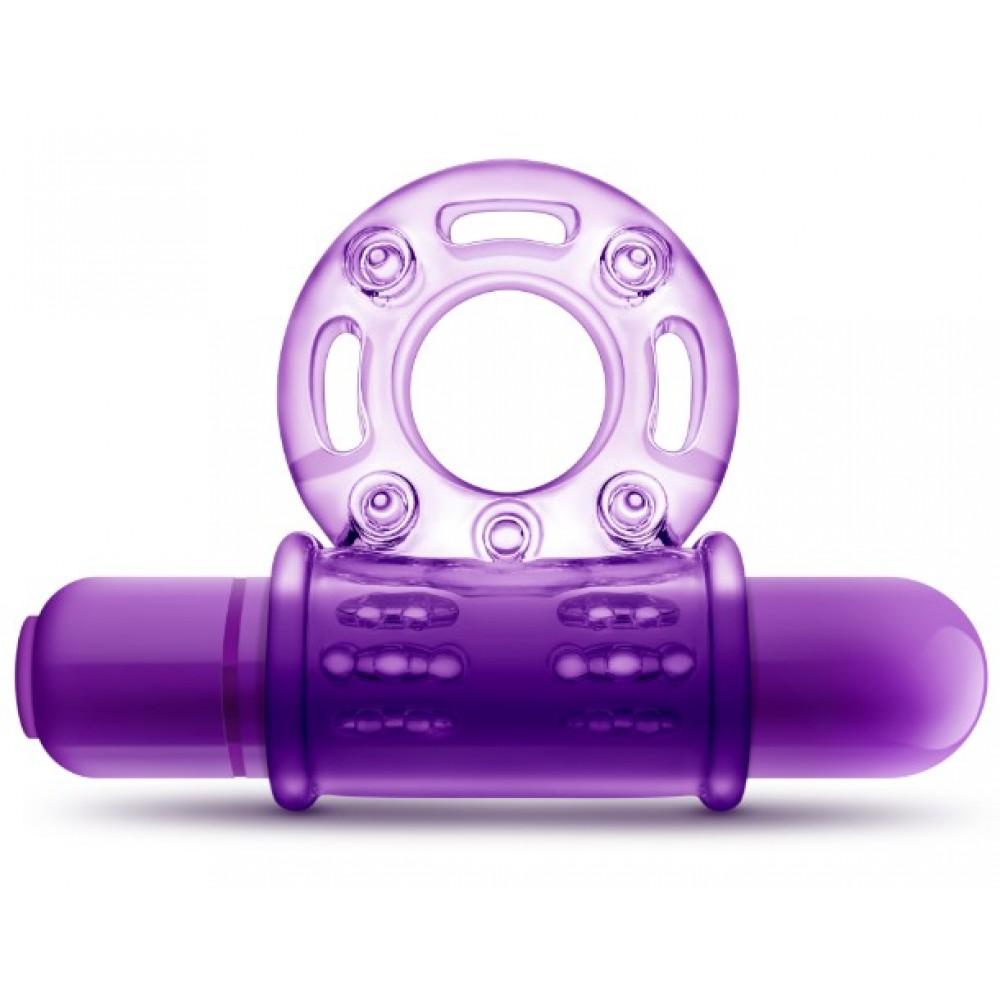 Фиолетовое эрекционное кольцо с вибрацией - No Taboo
