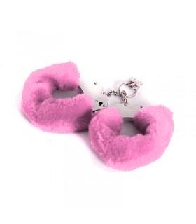 Металлические наручники с мехом, розовые, крепкие - No Taboo