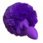 Анальная пробка силиконовая с помпоном, фиолетовый, размер S