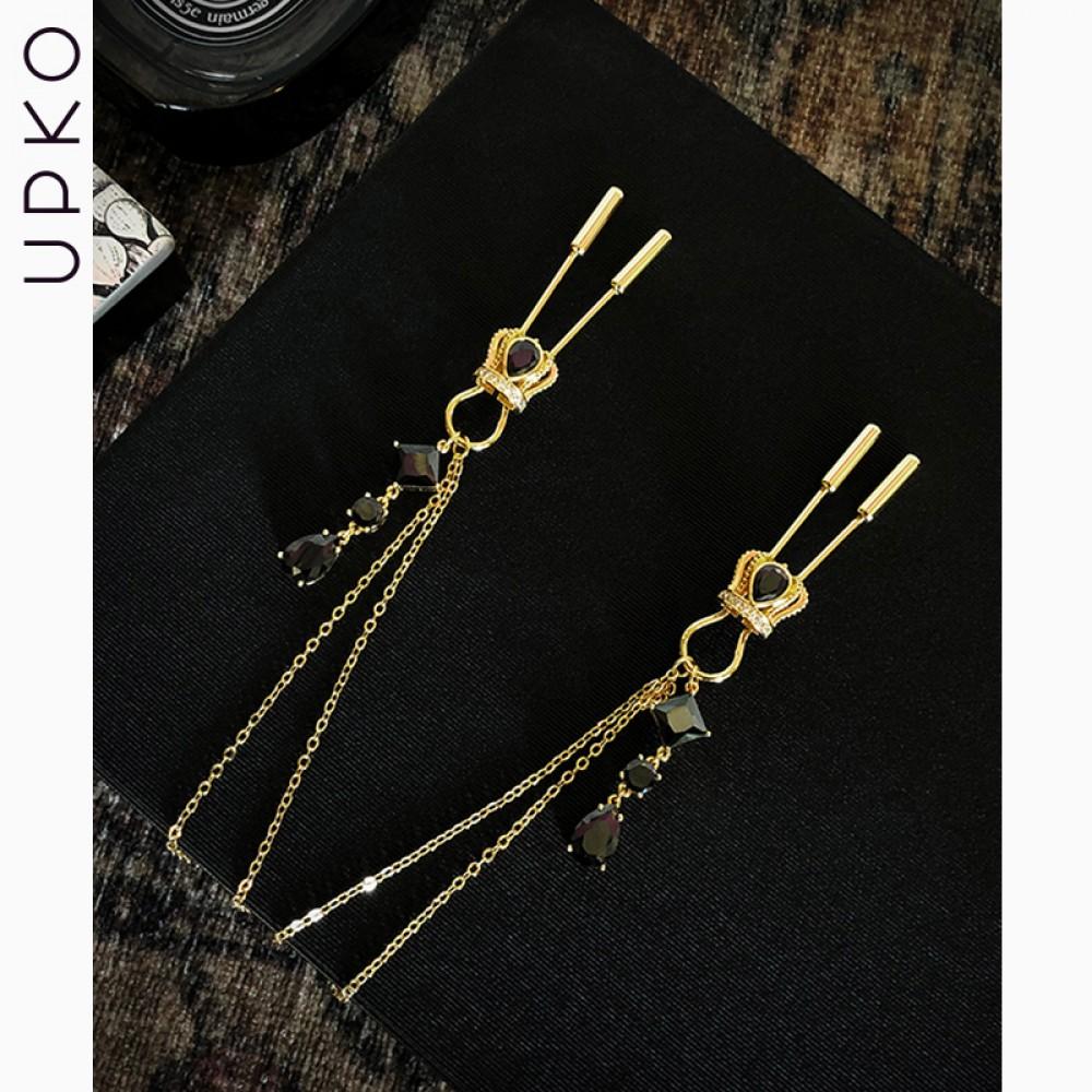 Зажимы для сосков UPKO на цепочке в виде короны с подвесками (38338)