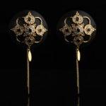 Пестисы с горным хрусталем и цирконием UPKO Luxury Baroque с итальянской кожи, черного цвета