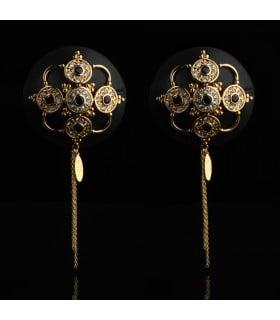Пестисы с горным хрусталем и цирконием UPKO Luxury Baroque с итальянской кожи, черного цвета - No Taboo