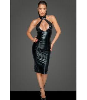 Платье из винила Noir Handmade с каплеобразным декольте, черное, M - No Taboo