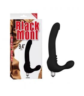 Страпон безремневой со съемной вибропулей 24 см, черный - No Taboo