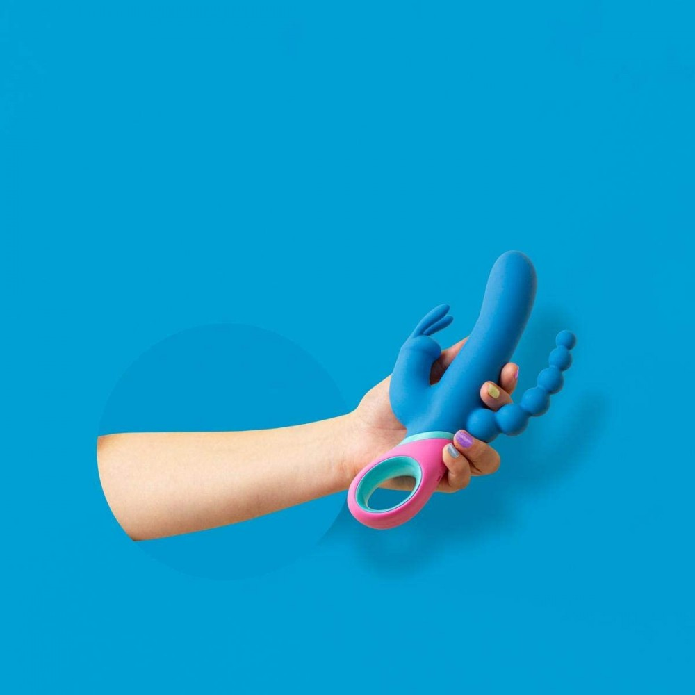 Вибратор кролик двойной PMV20 Vice с ротацией, 23 см, синий (39150), фото 7 — секс шоп Украина, NO TABOO