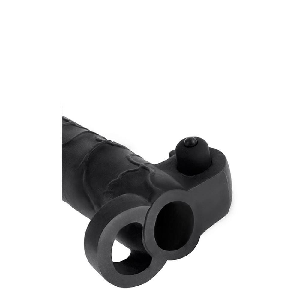 Насадка реалистичная с кольцом и вибропулей, черная (33389)