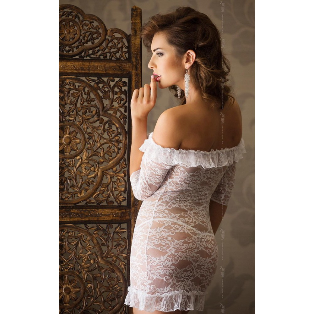 Гипюровое платье SoftLine Agathe со стрингами белое, размер S/M (20879), фото 2