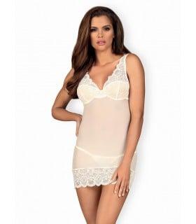Сорочка эротическая белая со стрингами, размер L/XL